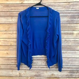 J CREW | Silk/Cotton Ruffle Cardigan in Royal Blue